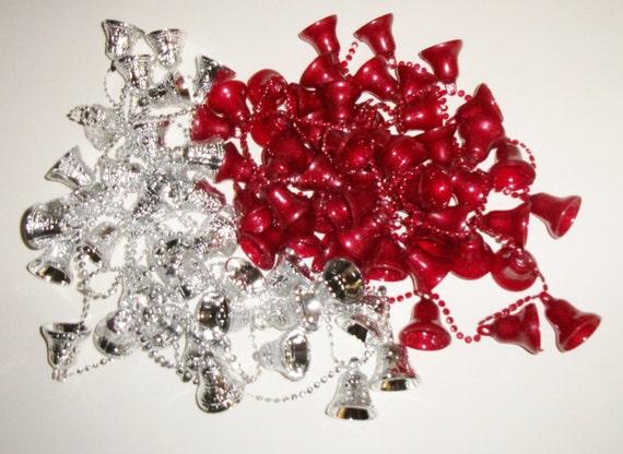 S plastic bells christmas tree garland red strand