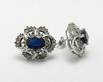 Genuine Sapphire Diamond Earring 14kt White Gold