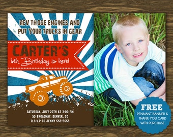 Monster Truck Birthday Invitation - Printable - FREE pennant banner and thank you card with purchase