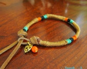 Tribe Color Friendship Bracelet  - Light Brown / with gold heart