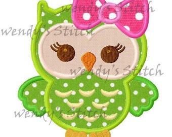 Big bow owl girl applique machine embroidery design