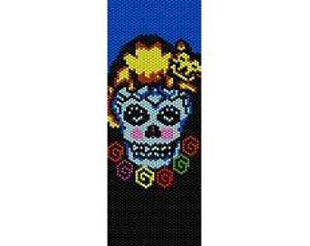 Instant Download Beading Pattern Peyote Stitch Bracelet Catted Sugar Skull Seed Bead Cuff