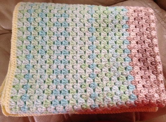 Crochet Pattern For Granny Stripe Baby Blanket : Granny Stripe crochet baby blanket