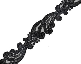 Beaded Sequin Embroidery Ribbon Lace Trim, Bridal Lace, 3-1/2 Inch 1 Yard, BLACK ROI-44439