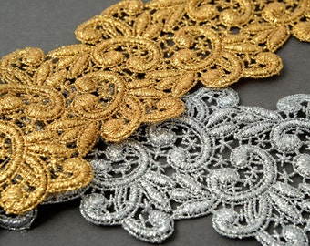 Metallic Lace Trim for Bridal, Costume or Jewelry, Crafts and Sewing, 3 Inch by 1 Yard, LP-MX-5073
