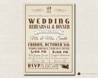 Rehearsal Dinner Invitation   Rehearsal Dinner Invite With Itinerary  Featuring Vintage Background Template   Printable  Printable Dinner Invitations