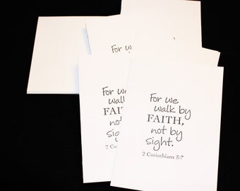 7 Inspirational,  Christian note cards. 7 blank cards hand stamped and matching envelopes plain.