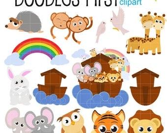 Noah's Ark Digital Clip Art for Scrapbooking Card Making Cupcake Toppers Paper Crafts