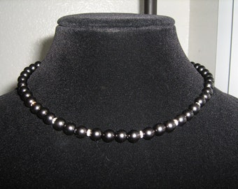 Black Pearl and Crystal Necklace