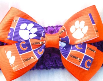 Clemson Baby Girl Bow With Headband - Stacked Handmade Bow For Little Clemson Fans - Tigers Bow