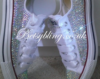 SALE **15 % off original price** All Over Crystal Converse ALL colours -Custom hand,made Crystal Converse.Free UK Delivery
