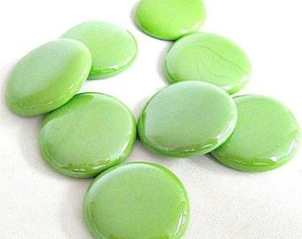25 Large, Neon Lime Green Iridized Glass Nuggets, Victory 2306