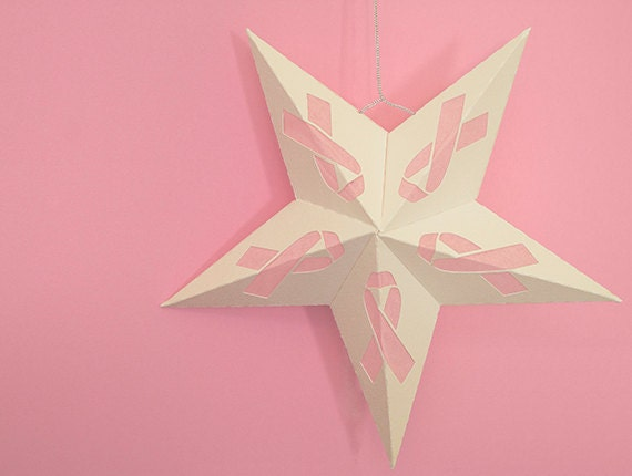 Items similar to breast cancer awareness paper star for Paper star cut out template
