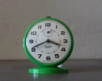 Vintage Mid Century French Bayard Alarm Clock Green With Original Box