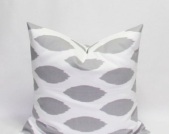 Pillows Grey Pillows Gray Pillows Ikat Pillows 22 x 22 Inches Decorative Throw Pillow Covers Chipper Storm Grey/Gray