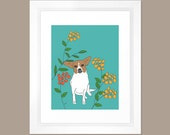 Lola the Brown and White Dog -- A Giclee Print from Original Art