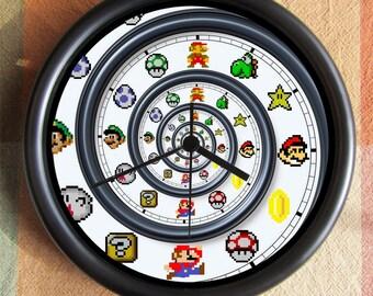 SUPER MARIO BROTHERS 8 Bit Spiral Nintendo Big 10 inch black wall clock  Ships Tomorrow