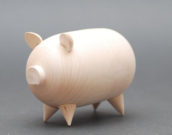 Blank Wooden Unpainted Piggy Bank Money Box Free Shipping Plus