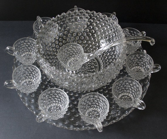 Duncan Miller Clear Hobnail Pressed Glass Punch Bowl Set with Underplate