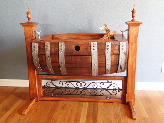 Items Similar To Wine Barrel Baby Cradle Custom Made On Etsy