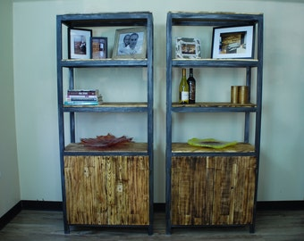 Metal and Pallet Wood Bookcase