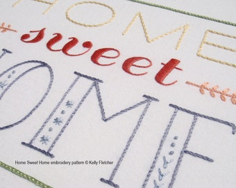 Home Sweet Home modern hand embroidery pattern - modern embroidery PDF pattern, digital download