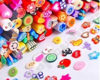 Polymer Clay Cane Slices in Assorted Designs for Nail Art, Kawaii Foods, Scrapbooking and Crafting