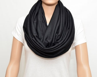 Black Infinity Scarf  - Nursing Cover - Nursing Scarf