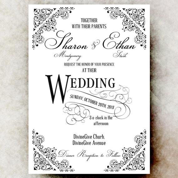 Black And White Wedding Invitation Vintage Wedding