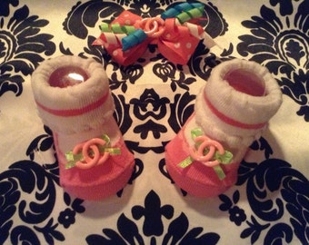 Baby Girl Designer Inspired Bow and Booties