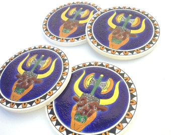 Ceramic Art Deco, Minotaur Greek Coaster,  Handpainted Blue Ceramic Coaster