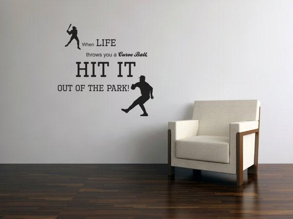 Items similar to Baseball player silhouettte vinyl decal ...