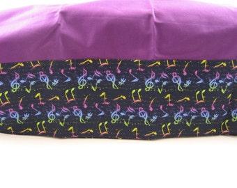 Pillow case; music themed fabric pillow case