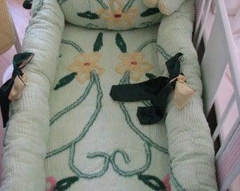 Sale Custom Crib Set 7 piece Green Meadow vintage Chenille