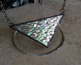Stained Glass Necklace Shimmery Iridescent Glass triangle
