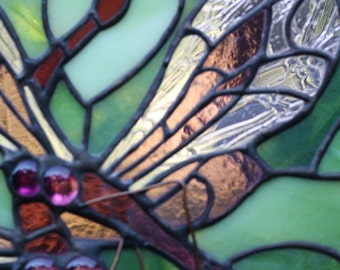 One of a kind stained glass dragonfly vanity lamp