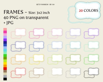 Bracket Digital frames clip art or labels in 20 colors PNG and JPGs- BR 104