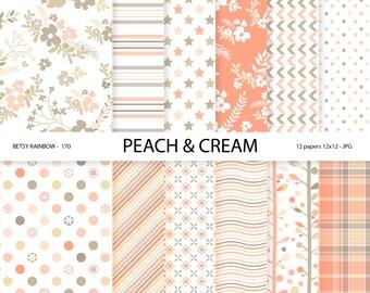 Peach Digital Paper pack, Digital paper Coral, Floral paper, 12 digital papers in peach tones - BR 170