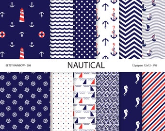 Nautical digital paper, scrapbook paper in navy blue with wave, anchor, stripes and polka dots, Navy blue and red -BR 208
