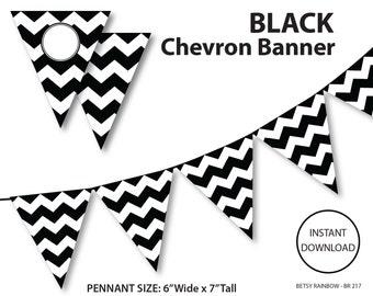Black and white banner, chevron banner, black and white chevron banner, printable banner, DIY party  - BR 217