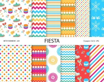 Mexican Digital paper, Fiesta Scrapbook Paper, Cinco de Mayo, 12 scrapbook papers - BR 229