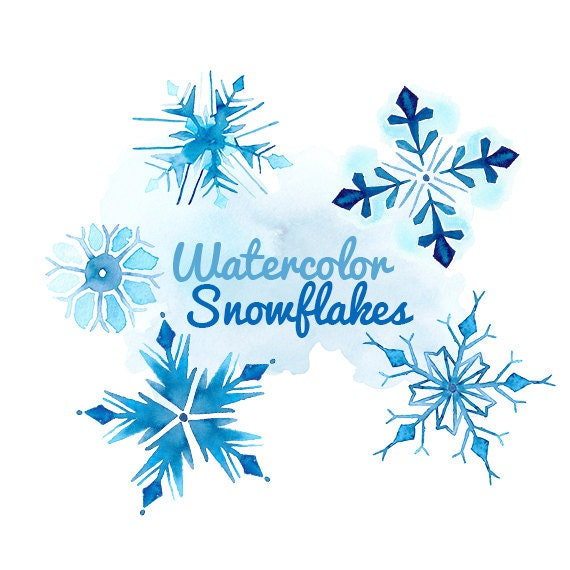 Watercolor snowflakes clip art clipart winter holiday snow