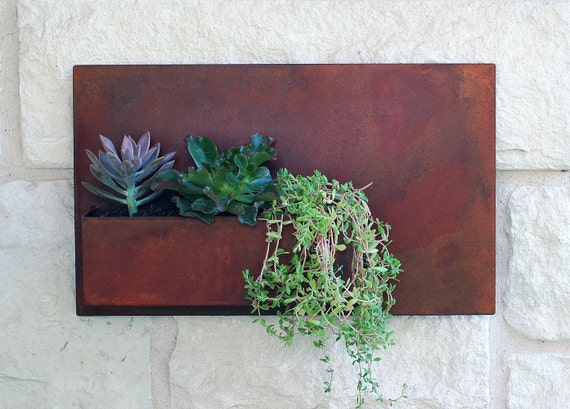 20 x 12 succulent hanging planter with rustic by urbanmettle - Metal hanging planter ...