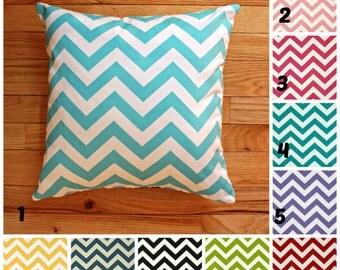 "SALE Chevron Pillow Cover, decorative pillow, nursery pillow, teen pillow, Size 16"" X 16""  Several color selections. ZIPPER CLOSURE"