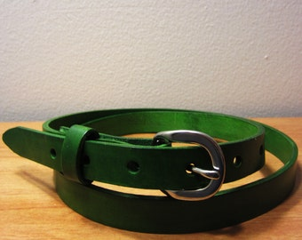 Womens Skinny Full Grain Leather Belt (Forest Green)