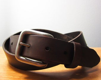 Womens Skinny Full Grain Leather Belt (Dark Brown)