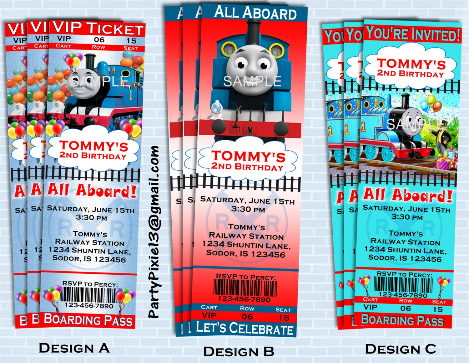 Thomas The Train Party Invitations Personalized