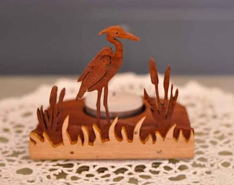 Scroll sawn handcrafted tea light holder - Egret