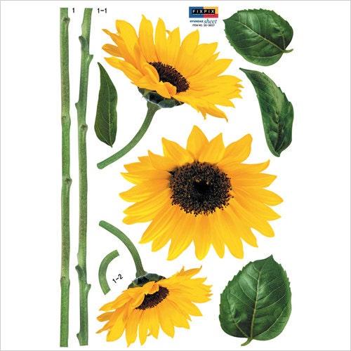 Small yellow sunflower morning flower wall point art decor - Stickers leroy merlin ...