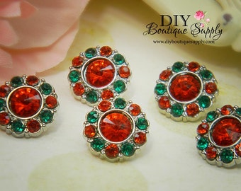 5 pcs CHRISTMAS Rhinestone Embellishments - Rhinestone Buttons Red & Green Acrylic Flower centers Headband Supplies 15mm 176031